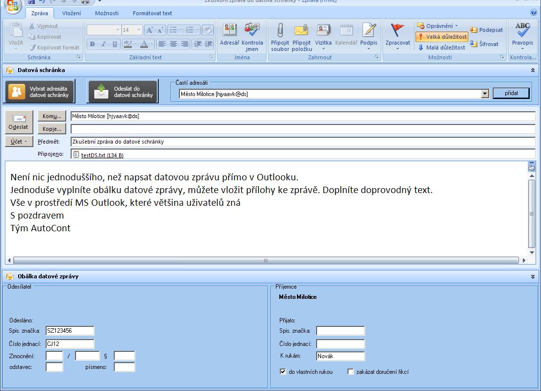 Příklad první datovací zprávy