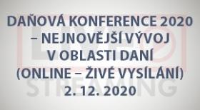 Daňová konference 2020 - Nejnovější vývoj v oblasti daní (online - živé vysílání)