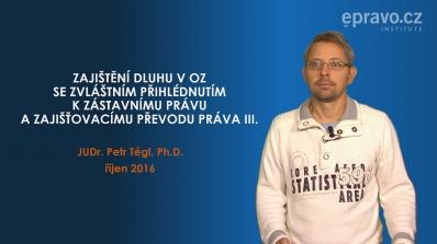 Zajištění dluhu v Občanském zákoníku se zvláštním přihlédnutím k zástavnímu právu a zajišťovacímu převodu práva III.